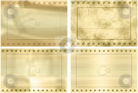 Four gold flags of aZerbaijan stock photo, Great Image of four gold embossed flags of aZerbaijan by Phil Morley