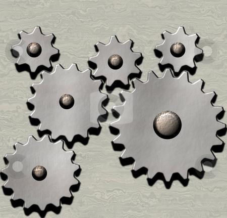 Clockwork stock photo, Image of metal clockwork gears on metallic background by Phil Morley