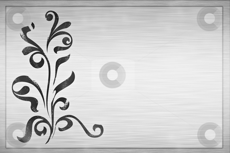 Floral grunge design stock photo, Large floral grunge design on brushed metal plaque by Phil Morley