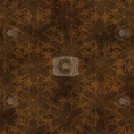 Flowers in leather stock photo, Abstract floral design carved into raw hide  leather by Phil Morley