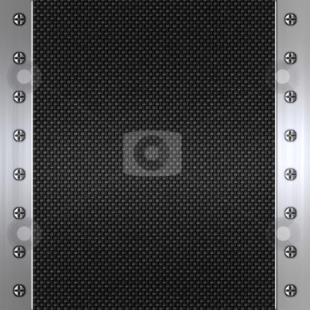 Carbon fibre and steel background stock photo, Image of carbon fibre inlaid in brushed metal frame by Phil Morley