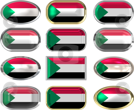 12 buttons of the Flag of Sudan stock photo, Twelve Great buttons of the Flag of Sudan by Phil Morley