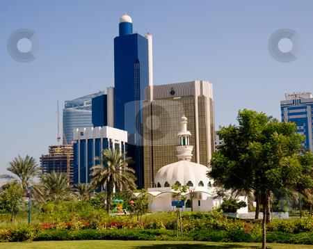 Abu Dhabi Skyline stock photo, View of modern skyscraper office buildings in Abu Dhabi in UAE by Steven Heap