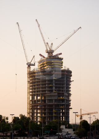 Construction of office building in Abu Dhabi stock photo, Framework of new office building in Abu Dhabi in UAE with cranes and construction by Steven Heap
