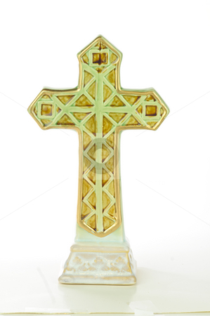 Cross stock photo, Green cross decoration; isolated on white background. by Tammy Abrego