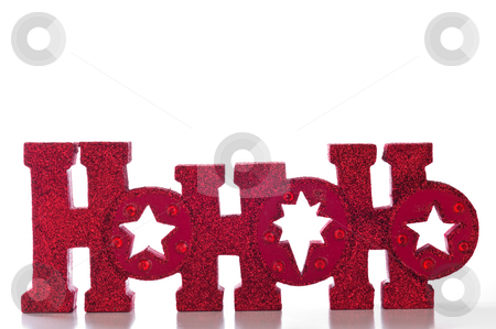 HoHoHo stock photo, Word spells HoHoHo in red glittery letters; isolated on white background. by Tammy Abrego