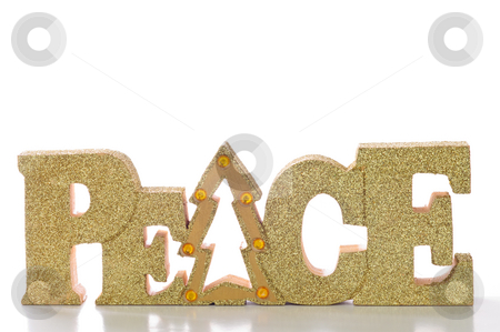 Peace stock photo, Word spells peace in glittery gold letters; isolated on white background. by Tammy Abrego