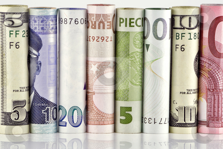 Wall from paper money stock photo, Wall from paper money of the various states. Money is curtailed into tubules. by Aleksandr Volokov