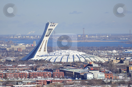 Olympic Stadium, Montreal. stock photo, View of the Olympic Stadium and city of Montreal. by Fernando Barozza