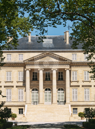 Chateau Margaux stock photo, Front view of the famous Chateau Margaux in France by Laurent Dambies