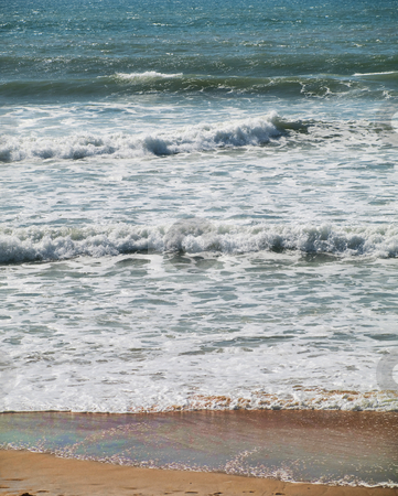 Ocean shore stock photo, Atlantic ocean with waves crashing on the shore by Laurent Dambies