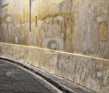 Curvy street stock photo, Curvy street with sidewalk in the city of Toulouse in France by Laurent Dambies