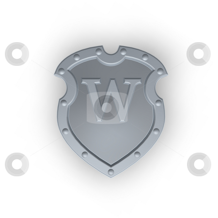 Shield with letter W stock photo, Metal shield with letter W on white background - 3d illustration by J?
