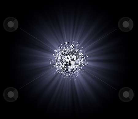 Explosion stock photo, Exploding ball in the darkness - 3d illustration by J?