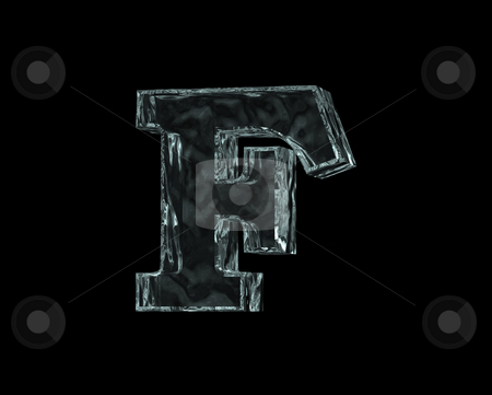 Frozen letter F stock photo, Frozen uppercase letter F on black background - 3d illustration by J?