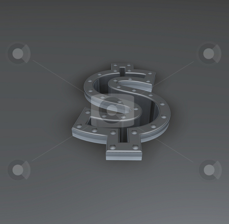 Heavy dollar stock photo, Metal dollar symbol with riveted frame border - 3d illustration by J?