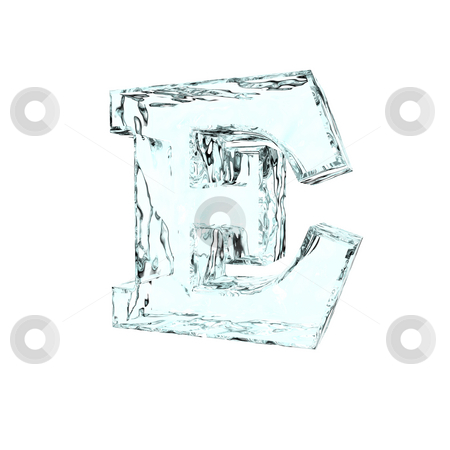 Frozen letter E stock photo, Frozen uppercase letter E on white background - 3d illustration by J?