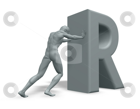 Man pushes the letter R stock photo, Man figure pushes the letter R on white background - 3d illustration by J?