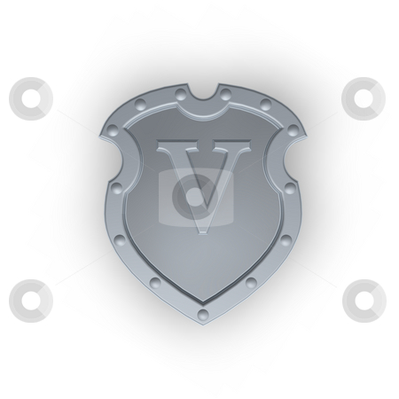 Shield with letter V stock photo, Metal shield with letter V on white background - 3d illustration by J?