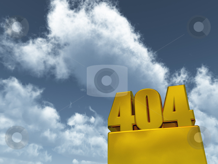 Error 404 stock photo, The number 404 under cloudy blue sky - 3d illustration by J?