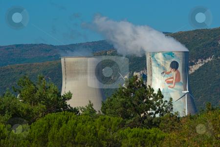 Kernkraftwerk in Frankreich - Nuclear Power Plant in France stock photo, Ein Kernkraftwerk (KKW), auch Atomkraftwerk (AKW), ist ein W?rmekraftwerk zur Gewinnung elektrischer Energie durch kontrollierte Kernspaltung. - Nuclear power is power (generally electrical) produced from controlled (i.e., non-explosive) nuclear reactions. by Wolfgang Heidasch