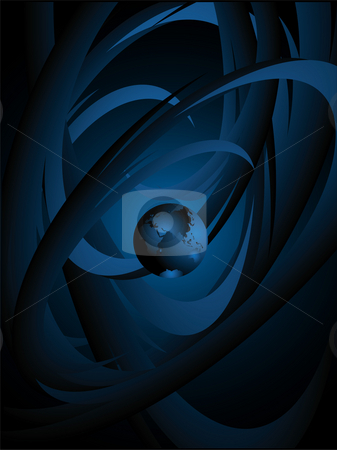 Planet and space stock photo, Planet against a dark background with abstract drawing by Alina Starchenko