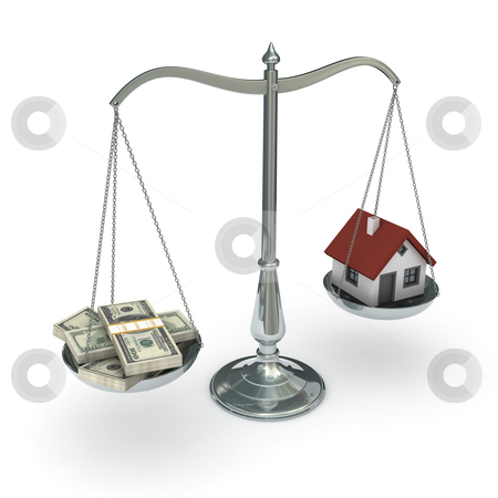 Scales dollars house stock photo, Classic scales of justice with a house and packs of hundred dollar bills, isolated on white background by Martin Ivask