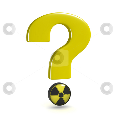 Question mark nuclear stock photo, Question mark with nuclear power symbol, isolated on white background by Martin Ivask