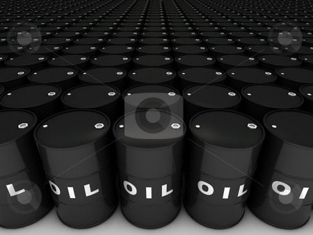 Oil barrels stock photo, Rows of oil barrels stretching to horizon by Martin Ivask