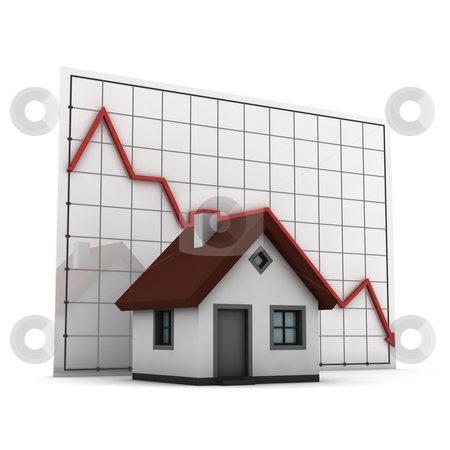 Graph house stock photo, House against chart of real estate market, isolated on white background by Martin Ivask