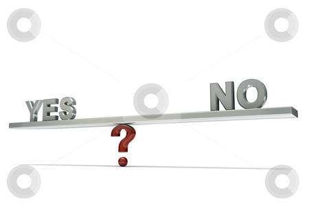 Seesaw yes no stock photo, Stylized seesaw on a question mark with words YES and NO, isolated on white background by Martin Ivask