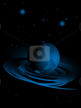 Abstract background with planets stock photo, Planet and stars against a dark background made in space by Alina Starchenko