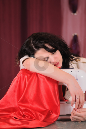 Sewing  stock photo, The tired dressmaker has fallen asleep in an operating time by Salauyou Yury