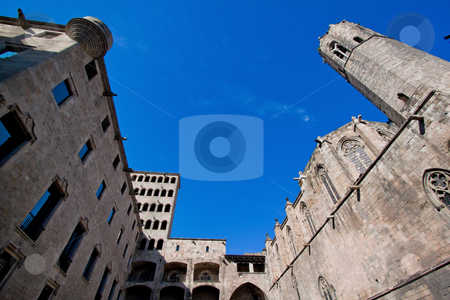 Building with Turret and Tower, Placa del Rei, Barcelona, Catalonia, Spain, Europe stock photo, Building with Turret, Placa del Rei, Barcelona, Catalonia, Spain, Europe. Horizontally framed shot. by Erwin Johann Wodicka