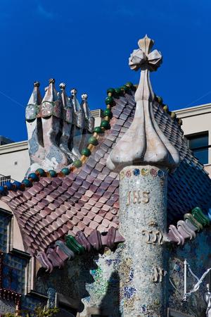 Detail of Casa Batllo, Barcelona stock photo, Detail of Casa Batllo, Barcelona, Spain, Europe. Vertically framed shot. by Erwin Johann Wodicka