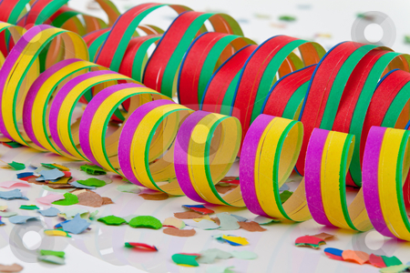 Ribbons and Confetti stock photo, Ribbons and confetti. Horizontally framed shot. by Erwin Johann Wodicka