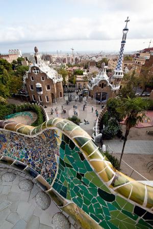 Parc Guell by Gaudi, Mercat de la Boqueria, Sagrada National Dance, Barcelona, Catalonia, Spain, Eur stock photo, Parc Guell by Gaudi, Barcelona, Catalonia, Spain, Europe. Vertically framed shot. by Erwin Johann Wodicka