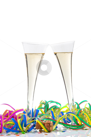Champagne stock photo, Champagne glasses. Vertically framed shot. by Erwin Johann Wodicka