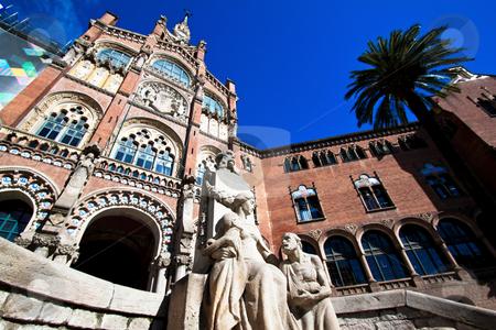Hospital de Santa Creu of Gaudi, Barcelona, Catalonia, Spain, Europe stock photo, Hospital de Santa Creu of Gaudi, Barcelona, Catalonia, Spain, Europe.  Horizontally framed shot. by Erwin Johann Wodicka