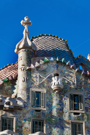 Casa Battlo, Barcelona, Spain stock photo, Detail of Casa Batllo, Barcelona, Spain, Europe. Vertically framed shot. by Erwin Johann Wodicka