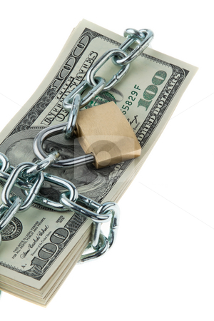 Locked American Currency stock photo, American currency with chain and lock. Vertically framed shot. by Erwin Johann Wodicka