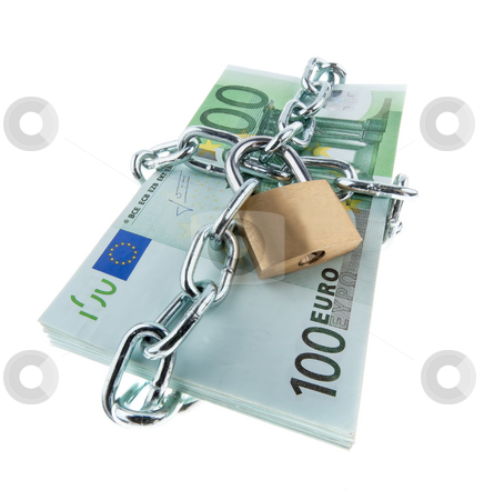 Locked European Currency stock photo, European currency with chain and lock. Square format. by Erwin Johann Wodicka