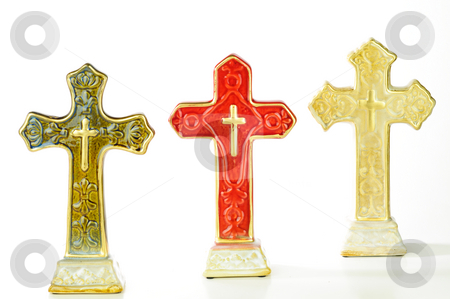Three Crosses stock photo, Three crosses isolated on white background. by Tammy Abrego