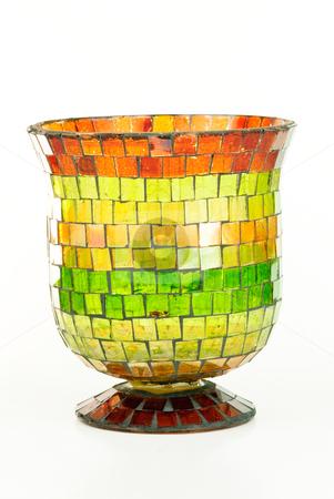 Mosaic Vase stock photo, Colorful mosaic vase on white background. by Tammy Abrego