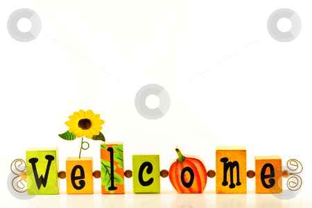 Welcome stock photo, Autumn welcome isolated on white background. by Tammy Abrego