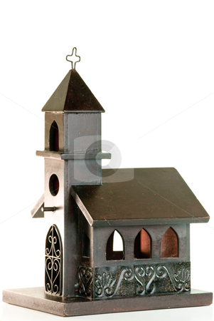 Church stock photo, Wood Church isolated on White Background. by Tammy Abrego