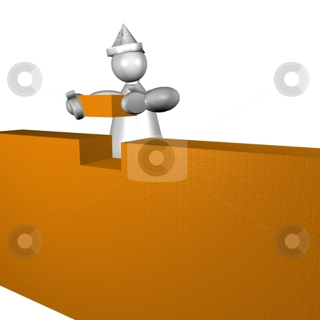 3D puppet building a house stock photo, 3D puppet with paper hat putting a brick in a wall by Fabio Alcini