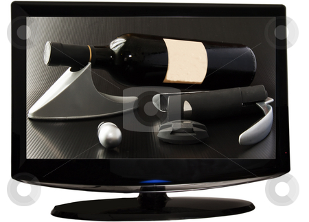 Wine on tv stock photo, A bottle of red wine and tools for wine on a tv screen by Fabio Alcini