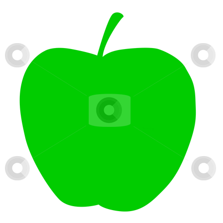 Green apple stock photo, Illustration of green apple isolated on white background. by Martin Crowdy