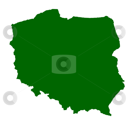 Poland stock photo, Map of Poland isolated on white background. by Martin Crowdy
